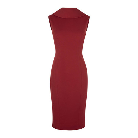 Cowl Neck Pencil Dress, ${color}