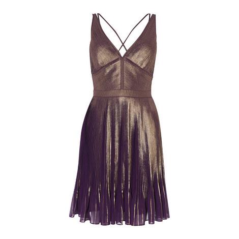 Pleated V-Neck Dress, ${color}