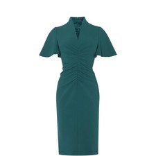 Ruched Flute Sleeve Dress