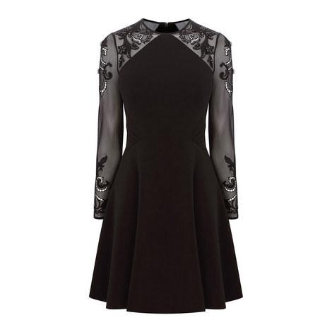 Geometric Embellished Sleeve Dress, ${color}