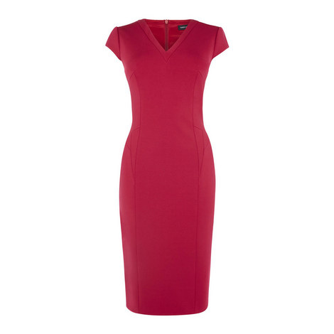 V-Neck Bodycon Dress, ${color}