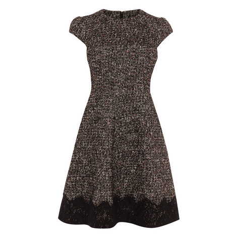 Tweed Fit and Flare Dress, ${color}