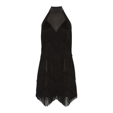 Fringed Halter-Neck Dress, ${color}