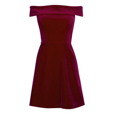 Velvet Bardot Fit and Flare Dress, ${color}