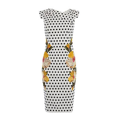Floral Embroidered Polka Dot Pencil Dress, ${color}