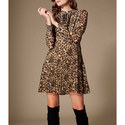 Leopard Print Ruffle Dress, ${color}
