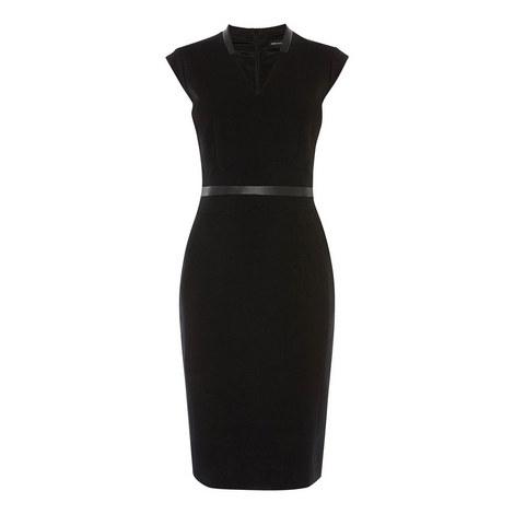 Tailored Contrast Belt Dress, ${color}
