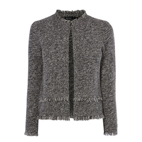 Fringed Tweed Cardigan, ${color}