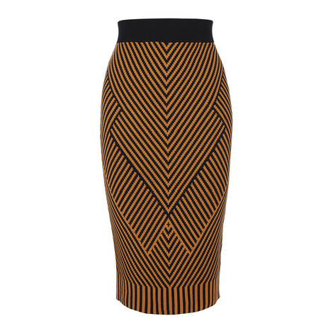 Chevron Knit Pencil Skirt, ${color}