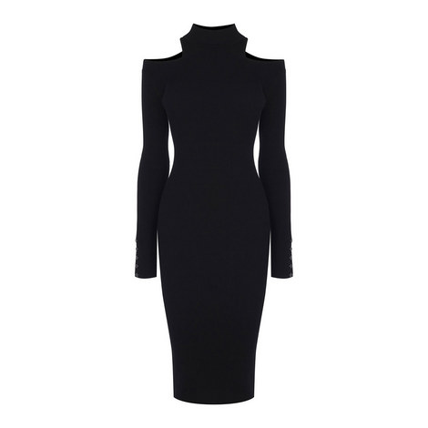 Cold-Shoulder Bodycon Knit Dress, ${color}