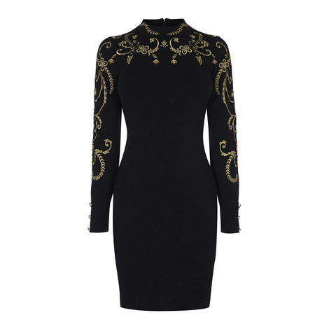 Baroque Embroidery Bodycon Dress, ${color}