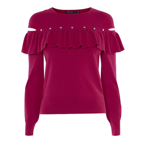 Frilled Knit Sweater, ${color}