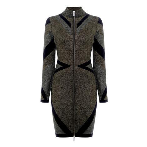 Geometric Zip-Through Bodycon Dress, ${color}