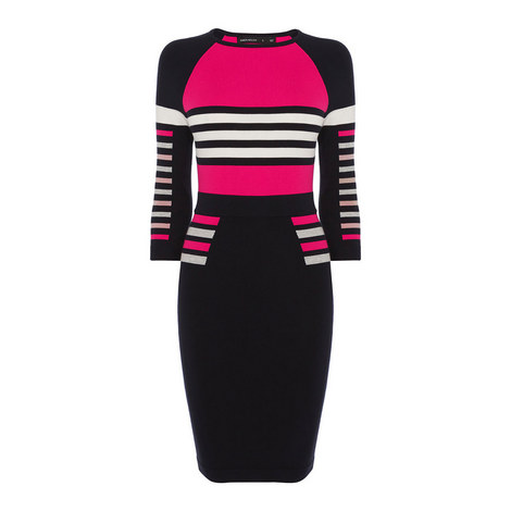 Block Stripe Knit Dress, ${color}