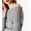 Slouchy Bardot Knit Jumper, ${color}
