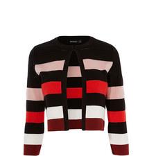 Colour-Block Striped Cardigan