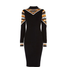 Patterned Bodycon Knitted Dress