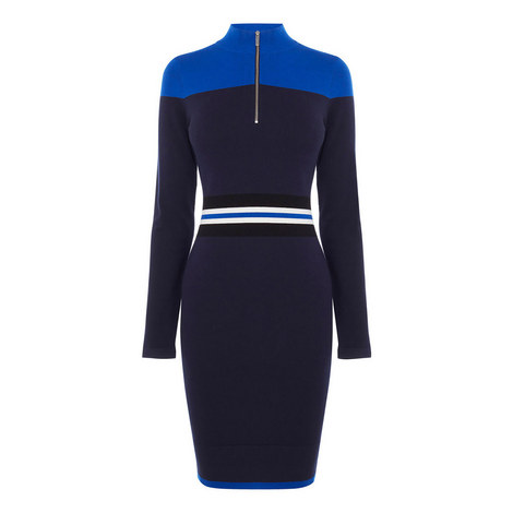 Sporty Placed Stripe Knitted Dress, ${color}