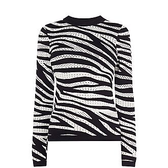 Zebra Print Textured Knit