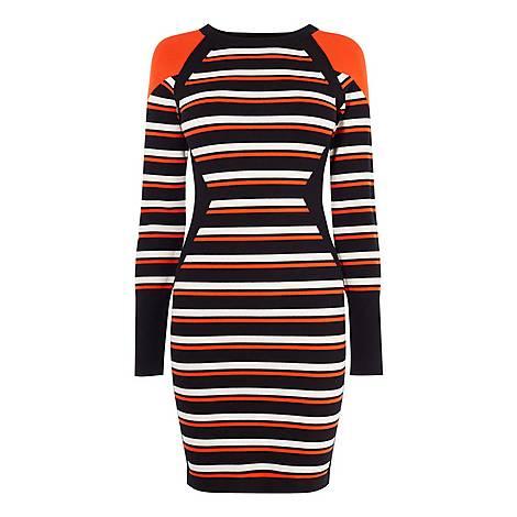 Striped Bodycon Knit Dress, ${color}