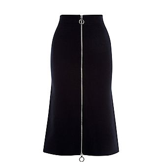 Knitted Midi Zip Skirt