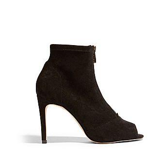 Peep-Toe Heeled Boots