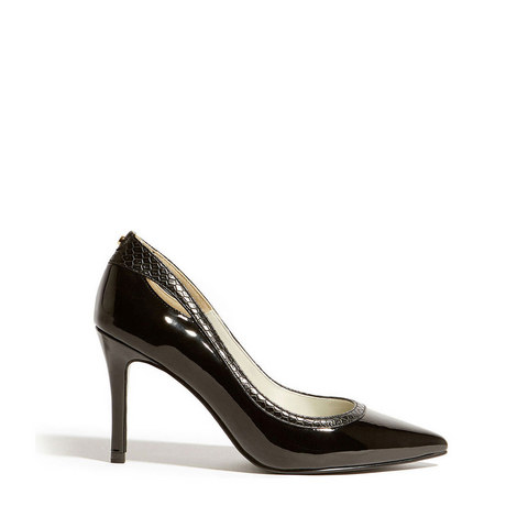Patent Faux-Snakeskin Pointed Courts, ${color}