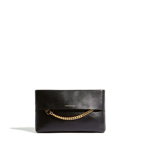 Chain Leather Clutch, ${color}