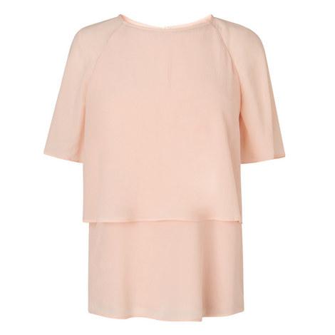 Maddie Short Sleeve Silk Top, ${color}
