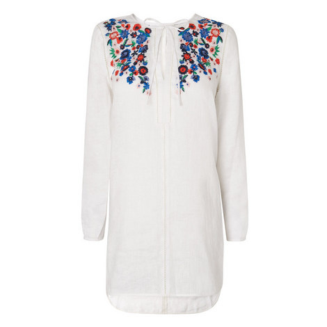 Indra Embroidered Linen Top, ${color}