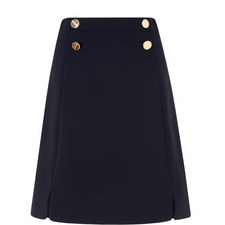 Bay Buttoned A-Line Skirt