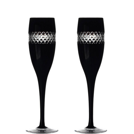 John Rocha Black Champagne Flute Set of Two, ${color}