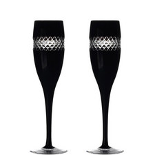 John Rocha Black Champagne Flute Set of Two