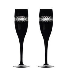 John Rocha Black Champagne Flute Set of Two