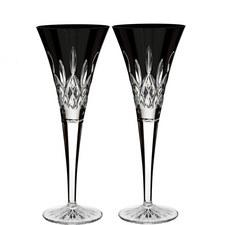 Lismore Black Champagne Flutes