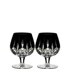 Lismore Black Brandy Glasses