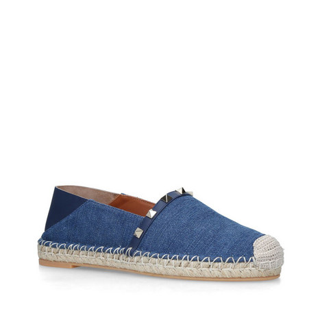 Rockstud Denim Espadrilles, ${color}