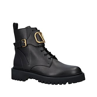 V Buckle Combat Boots