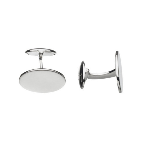 Sterling Silver Classic Oval Cufflinks, ${color}