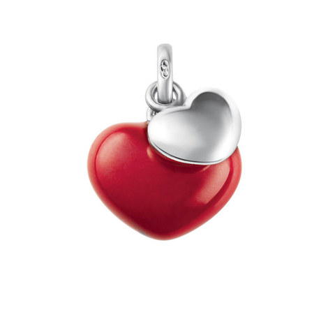 Sterling Silver Double Heart Charm, ${color}