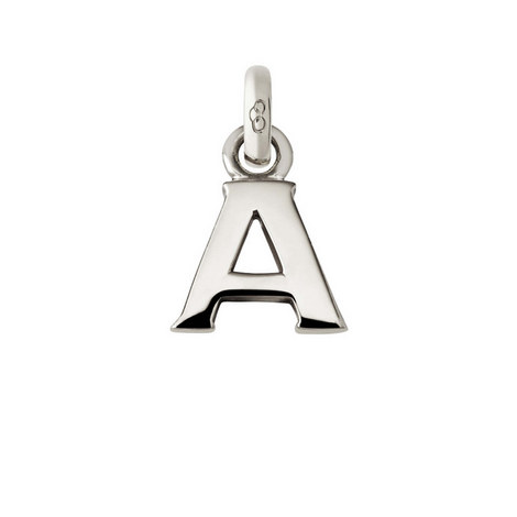 Sterling Silver 'A' Charm, ${color}