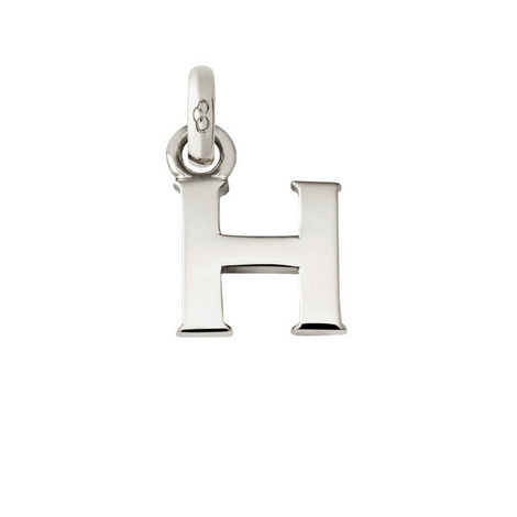 Sterling Silver 'H' Charm, ${color}