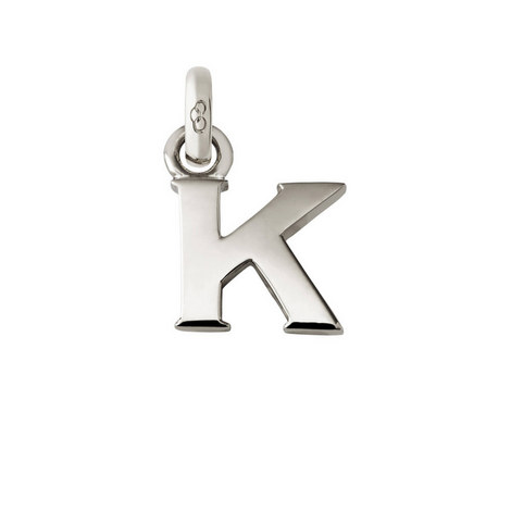 Sterling Silver 'K' Charm, ${color}