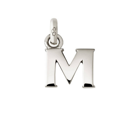 Sterling Silver 'M' Charm, ${color}