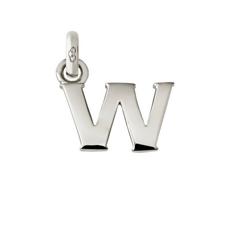 Sterling Silver 'W' Charm, ${color}