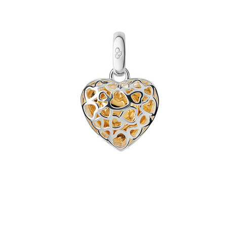 Cage Heart Bi-Metal Charm, ${color}