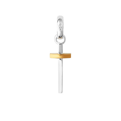 Sterling Silver and 18kt Gold Vermeil Slim Cross Charm, ${color}