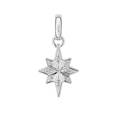 Sterling Silver and Diamond Christmas Star Charm, ${color}