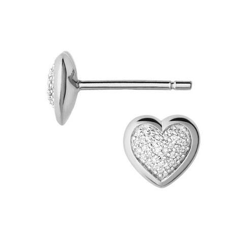 Diamond Essentials Heart Stud Earrings, ${color}