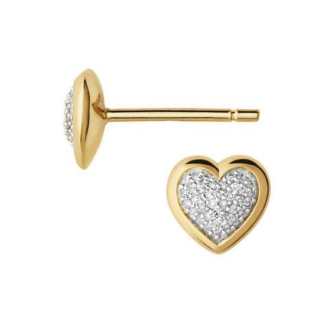 Diamond Essentials Pavé Heart Earrings, ${color}